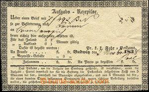 46240 - 1838 zpáteční lístek se zdobeným rámem a přítiskem p