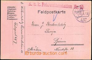 46495 - 1918 K.u.K.. Feldwetterstation No.10, red straight line post
