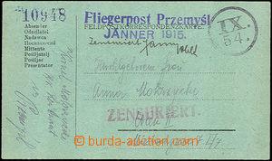 46499 - 1915 Fliegerpost Przemyśl/ Jänner 1915  blue straight line