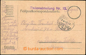 46526 - 1916 Ballonabteilung Nr.15  fialové řádkové razítko na