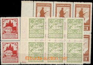 47206 - 1919 Pof.PP2-4B, selection of blocks of 6 with all types all