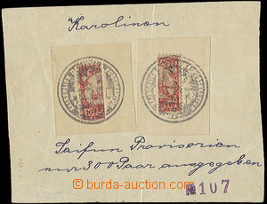 47497 - 1905 KAROLINEN two cuttings with a vertically devided stamp