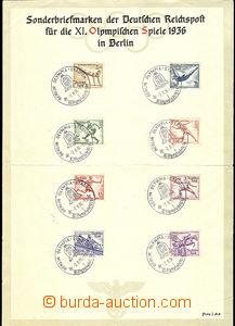 47498 - 1936 OLYMPIÁDA  XI. LOH Berlín 36, pamětní list vydaný s vyl