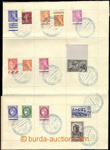 47499 - 1940 překládaný arch papíru cca A3 s vylepenými franc.