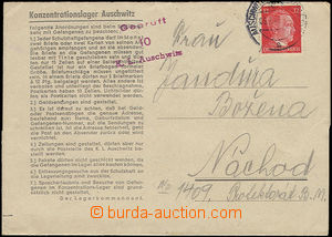 47540 - 1943 C.C. AUSCHWITZ  folded letter on/for pre-printed blank