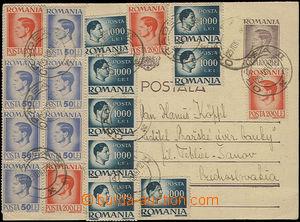 47546 - 1947 dopisnice Mi.P134, bohatě dofr. 18ks výplatních známek,