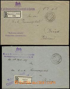 47557 - 1916-17 2 úřední R dopisy adres. do nemocnice v Mostě, 1