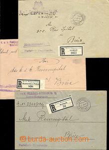47558 - 1916 sestava 3ks úředních dopisů adres. do nemocnice v M