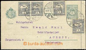 47666 - 1909 letter-card Mi.K9 with R margin, uprated by. 4x 1f Turu