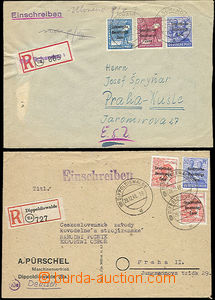 47730 - 1948 SOVIET ZONE  2 pcs of R letters to Czechoslovakia, with