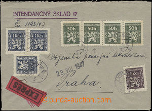 47761 - 1947 Express letter franked with. str-of-4 issue I Pof.SL1,