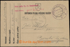 47763 - 1939 Slovak FP card, CDS Field Post 41/ 2.X.39 + CDS German