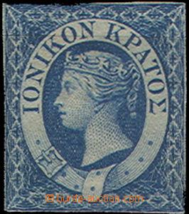 47981 - 1859 Mi.2 Viktorie, 1P modrá, stopy po nálepkách, málo znate