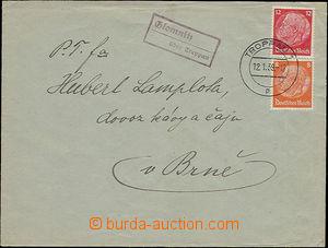 48027 - 1939 letter with postal agency pmk GLOMNITZ über Troppau (G