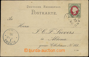 48041 - 1880 HELGOLAND note paid by Mi.14 (pence + pfennig) stamp, d