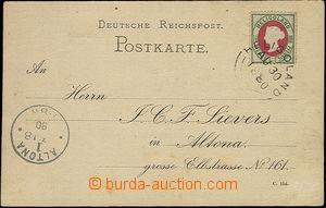 48041 - 1880 lístek vyfr. známkou Mi.14 (pence + pfennig), DR Heli