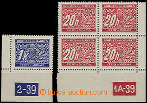 48066 - 1939 Pof.DL3 + DL9, corner pieces with plate number with var