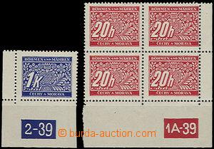 48066 - 1939 Pof.DL3 + DL9, rohové kusy s DČ s různými posuny pe