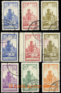 48098 - 1918 ŹARKI  Mi.1-3, 4-6, 7-9, všechna 3 vydání, dobrá jakost
