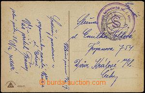 48117 - 1919 pohlednice s fialovým kulatým razítkem *Velitelství