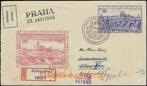 48118 - 1955 COB8 Praga 1955 sent as Reg to Austria, uprated on reve