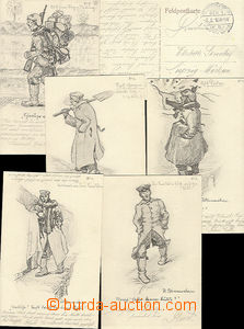 48140 - 1916 assembly of 6 pieces of caricature (aut.Blumenschein),