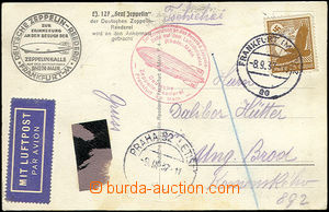48143 - 1937 air postcard to Czechoslovakia, CDS Frankfurt/ 8.9.37,