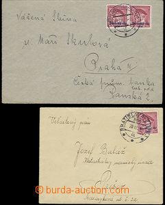 48185 - 1939 sestava 2ks dopisů do ČaM, 1x vyfr. přetiskovou zn.
