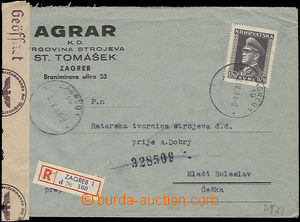 48200 - 1944 registered firm letter to the Protectorate of Bohemia a