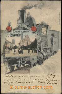 48268 - 1905 Rakovník, collage, engine with view in the square, long
