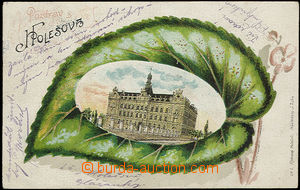 48269 - 1907 Holešov, color collage lithography lupen with view on/