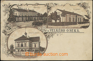 48282 - 1898? Velký Osek , monochrome collage lithography, 3-views,