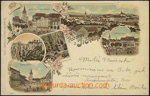 48284 - 1898 Jičín, barevná kolážová litografie, vícezáběrová, DA, p