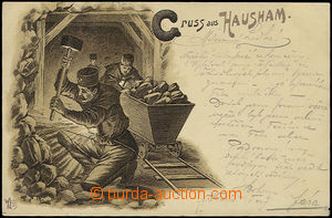 48290 - 1898 Hausham, monochrome lithography with printings miners i