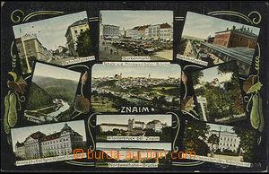 48294 - 1912 Znojmo, barevná kolážová pohlednice, vícezáběrov