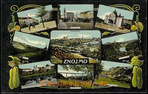 48295 - 1912? Znojmo, barevná kolážová pohlednice, vícezáběro