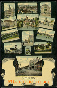 48296 - 1908 Strakonice, color collage postcard, multi-view in/at bl