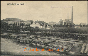 48327 - 1924 Němčice n./H., single-view,  B/W, in foreground railw