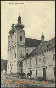 48396 - 1915 SLOUP -  B/W view of church and secondary restaurant Fe