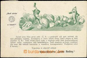 48397 - 1902 Czech family, reminder advertising postcard publishing,