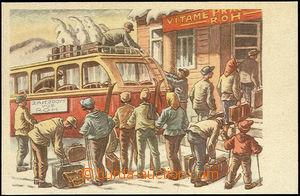 48402 - 1950? color postcard with printings rekreantů Labour Unions