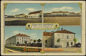 48425 - 1916 Vysoké Mýto, barevná 4-okénková pohlednice, kasár