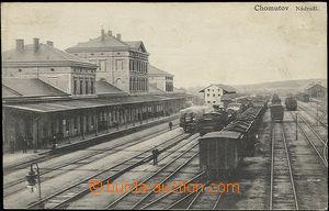 48429 - 1930? Chomutov, railway-station,  B/W view of building railw