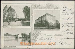 48435 - 1900 Malotice, 3-views collage, grey-green shade, long addre