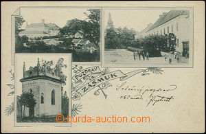 48436 - 1901 Zásmuky, 3-views collage, dark green  shade, long addre