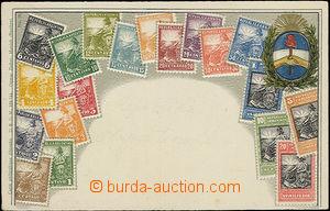 48449 - 1905? Argentina, stmp postcard with emblem, embossed, color,