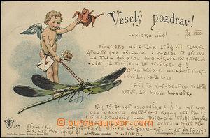 48456 - 1900 Joseph Šváb No. 57 , cherub letí on/for vážce, col