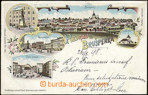 48468 - 1898 Brušperk, color collage lithography, 5-views, long add