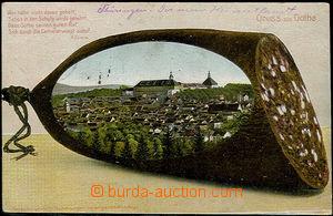 48472 - 1909 Gotha, barevný pohled na část města vkomponovaného
