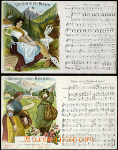 48475 - 1909 2x color drawn postcard with motive of mountains, music